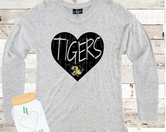 Heart Tigers Gray Hooded or Crew Neck Cuddle Fleece (more sweater like)