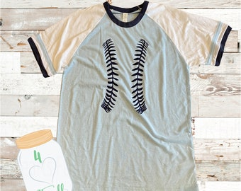 Large Adult baseball seams short sleeve vintage ringer