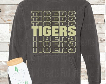 Tigers Word Art Pepper Gray Hooded or Without a Hoodie Pullover by Comfort Colors