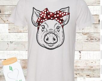 Pig Bandana Tee Unisex Adult