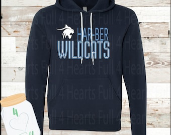 Adult and Youth Harber Wildcats Grey or Navy Hoodie
