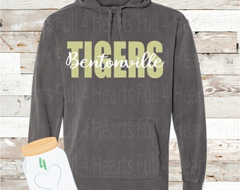 Bentonville Tigers Pepper Gray Hooded or Without a Hoodie Pullover by Comfort Colors