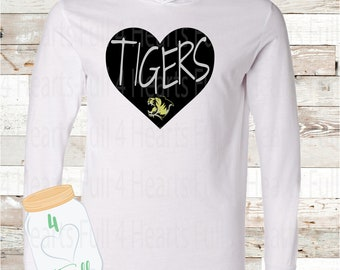 Heart Tigers White Hooded long sleeve Tee
