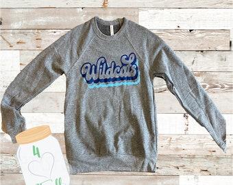 Small Adult Retro Wildcats Grey Sweatshirt