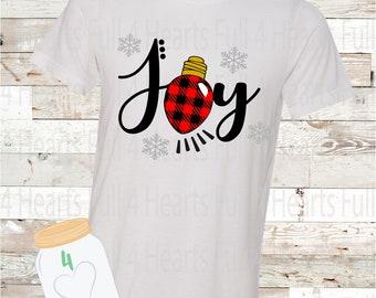 Joy Plaid Christmas Tee Unisex Adult
