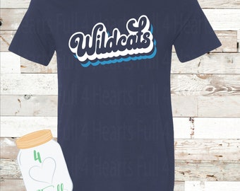 Adult and Youth Retro Wildcat Navy or Grey Bella Canvas Tee