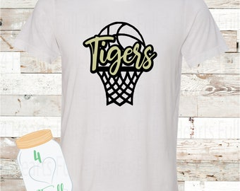 Tigers Basketball White or Gray Tee