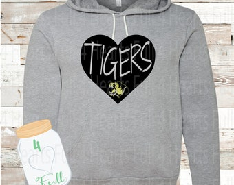 Heart Tiger Gray or White Hoodie
