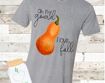 Oh My Gourd FALL Halloween Thanksgiving Tee Unisex Adult