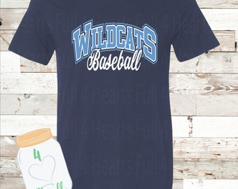 Adult and Youth Wildcats Baseball Navy or Grey Bella Canvas Tee