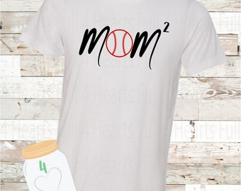 Baseball Mom Squared (2 Kiddos) Personalize for more kids Tee Unisex Adult