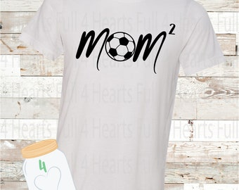 Soccer Mom Squared (2 Kiddos) Personalize for more kids Tee Unisex Adult