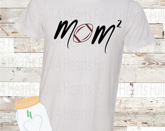 Football Mom Squared (2 Kiddos) Personalize for more kids Tee Unisex Adult