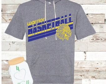Warrior basketball short sleeve hoodie Adult