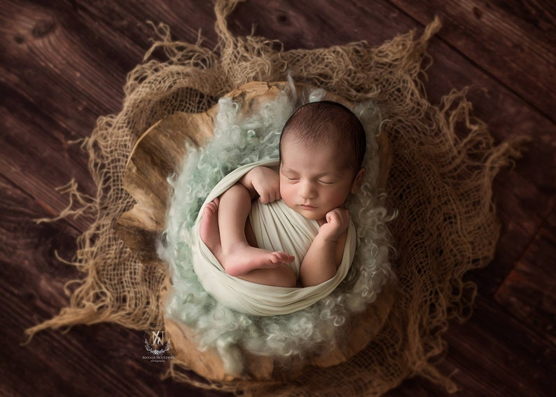 Green Mint Fringe Curly Layer Newborn Baby Photography Props  Basket Stuffer  Felted Wool Layer