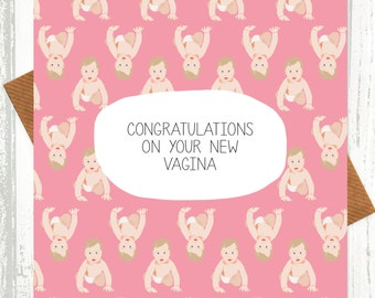 funny new baby card congratulations on your new vagina pink funny baby card shocking cards rude cards baby girl card