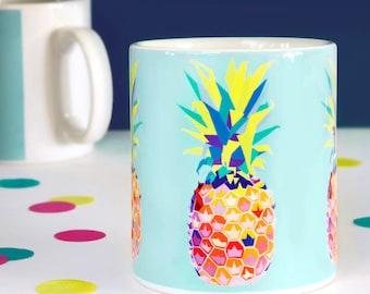 Pineapple Mug - funny mugs - ceramic mugs - coffee mugs - pineapple decor - pineapples - pineapple print