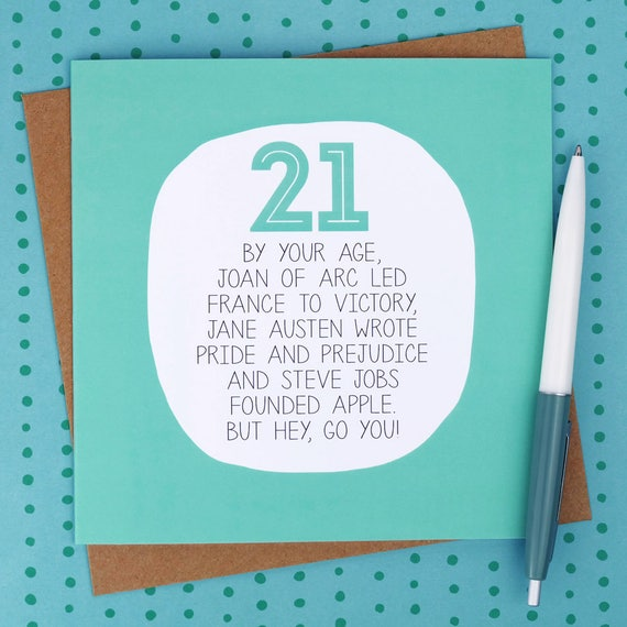 21st Birthday Card Funny Birthday Cards Funny 21st Card Etsy