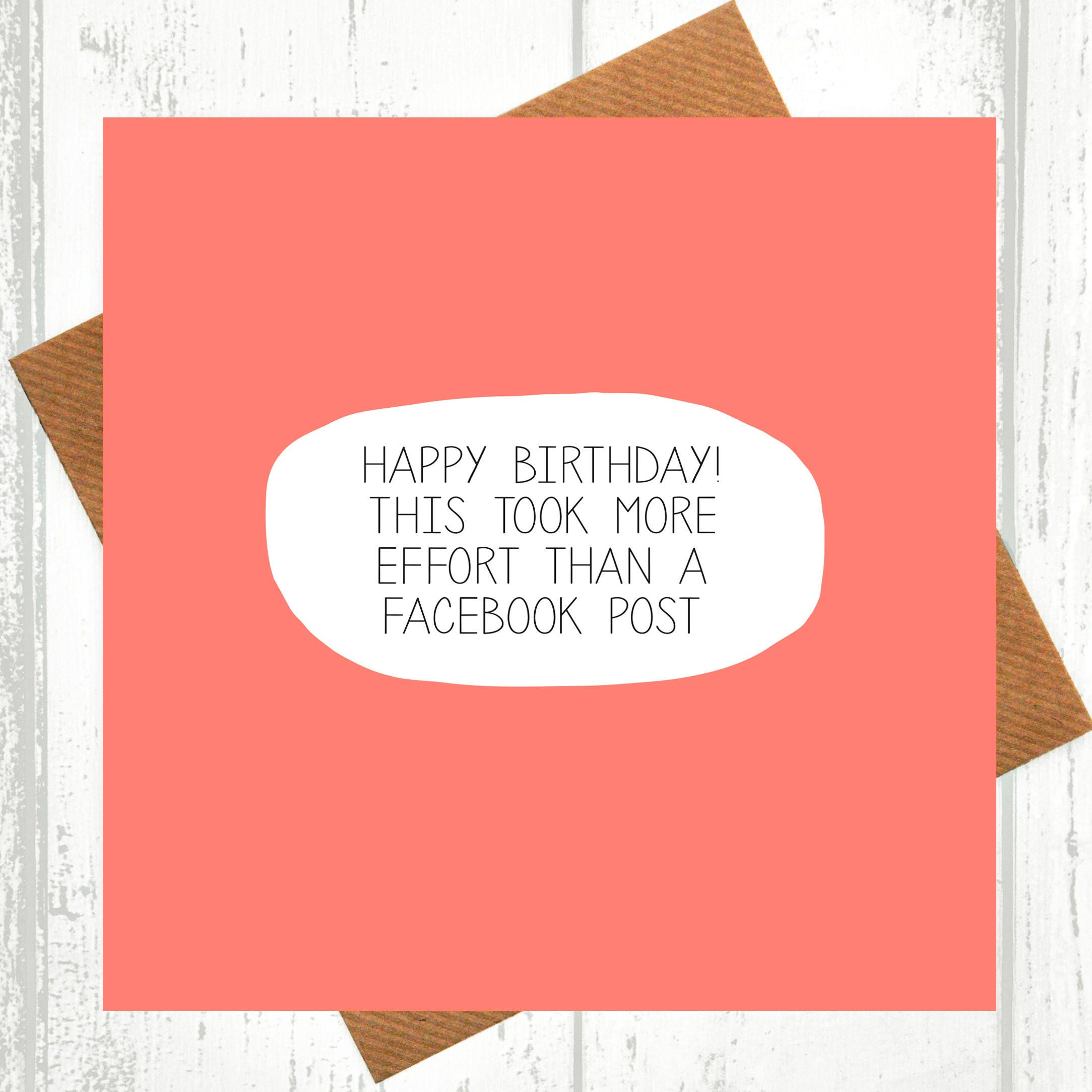 Funny Birthday Card This Took More Effort Than A Facebook Etsy