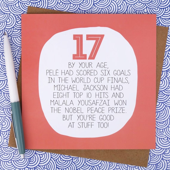 17th Birthday Card Funny Birthday Card Funny 17th Birthday Etsy