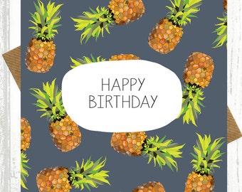 Pineapple Birthday Card - birthday cards - pineapple pattern - pineapple print
