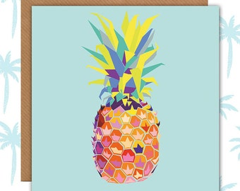 Pineapple Card - blank for your own words - pineapple birthday card - pineapple print - pineapple cards