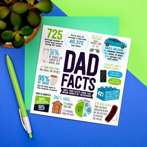 Dad Facts Card Dad Birthday Card Funny Birthday Card For Etsy