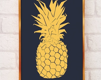 Pineapple Print in A3 and A4 - pineapple poster - pineapple decor - art prints - wall art prints - wall prints