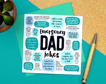 Emergency Dad Jokes Card - Dad Birthday Card - Funny Birthday Card for dad - funny dad birthday card - funny fathers day card - paper plane