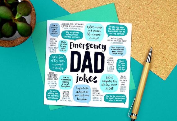 Emergency Dad Jokes Card Dad Birthday Card Funny Birthday Etsy