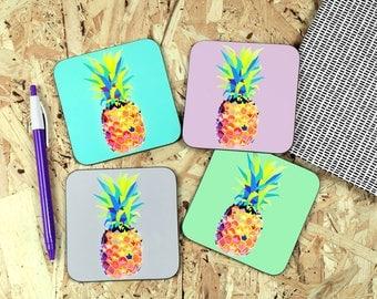 Pineapple coaster - pineapple print - pineapples - coasters - wooden coasters