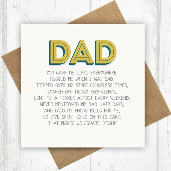 Funny Dad Card Dad Birthday Card Funny Birthday Card For Etsy