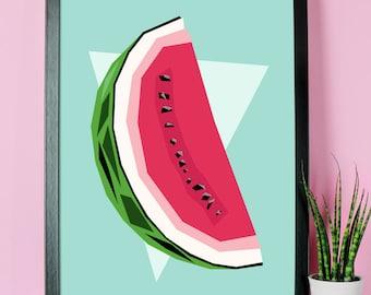 Watermelon Print A4 or A3 - watermelon decor - watermelon wall art - watermelon poster - watermelons - watermelon art - watermelon gifts