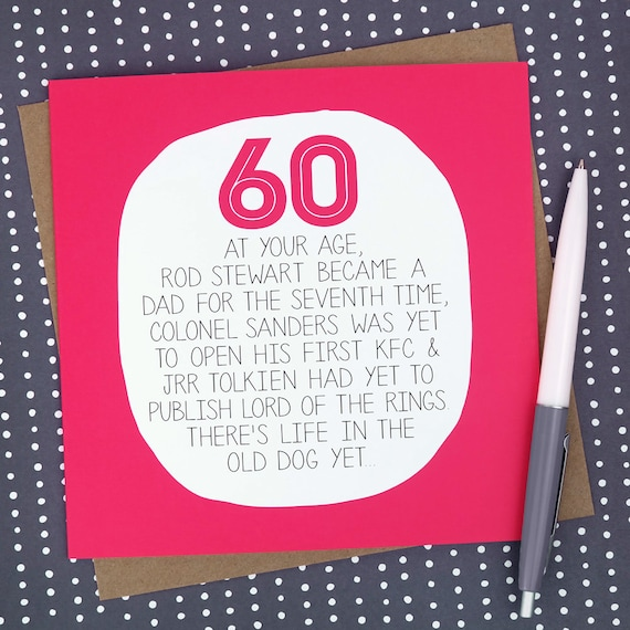 60th Birthday Card At Your Age Funny 60th Birthday Card Etsy