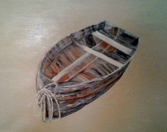 Painting of Old Rowboat