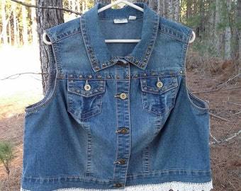 Up-cycled Denim Vest with added lace-Size 18/20 women's