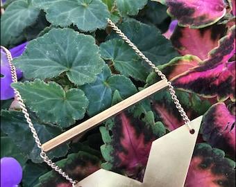 Geometric brass necklace