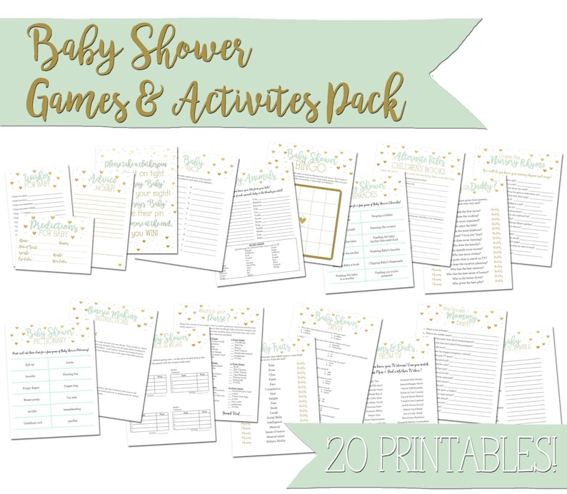 Green and Gold Baby Shower Games & Activities Pack  printable image 0