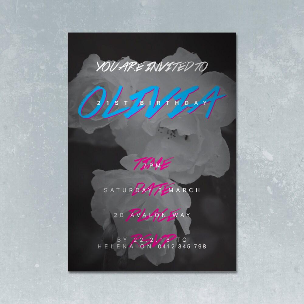 Punk rosa A5 invitación InDesign plantillas para cumpleaños | Etsy