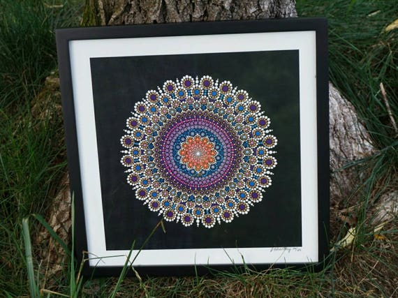 Dot Mandala Art Flower Limited Edition Fine Giclee Print On