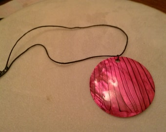 Pink and black boho statement necklace.