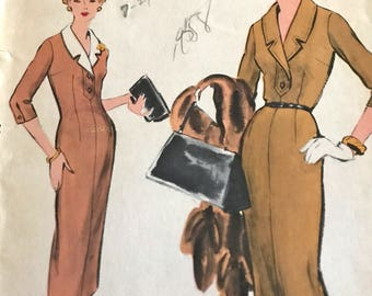 Smart Vintage 1950's Dress Pattern With Detachable Collar---Vogue 9289---Size 14  Bust 34  UNCUT