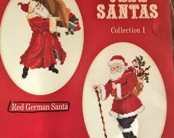 Two Complete Cross Stitch Kits----Olde Santas by Sew Fine---Red German Santa and 1909 St. Nick  UNUSED