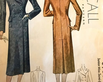 RARE Circa 1936 Double Breasted Coat Pattern---McCalls 8966---Size 16  Bust 34