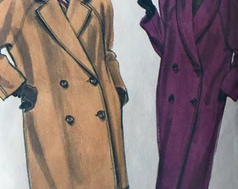 Very Easy Double Breasted Coat Pattern---Vogue 7871---Sizes 12-14-16 Bust  34 Thru 38  UNCUT