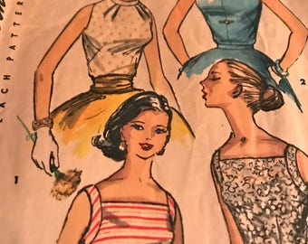Vintage 1950's Bombshell Pin-Up Top Pattern---Simplicity 1625---Size 11  Bust 29
