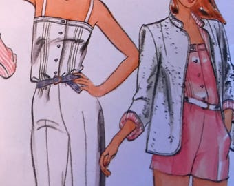 Cute Jumpsuit in Two Lengths and Reversible Jacket by Bagatelle---Butterick 3705---Size 8  Bust  31 1/2  UNCUT