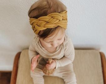 Baby girl knot headband Infant flower Headband,Hair bows braided knot headwrap infant sailor knot,Newborn bow headband Baby headband