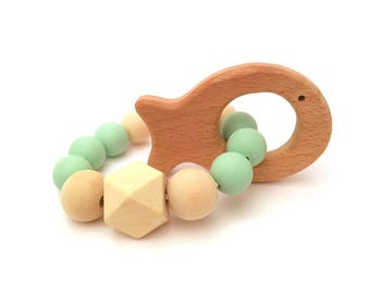Teether Toy Wooden Silicone Baby Boy Baby Girl Baby Shower Gift Baby Gift Pacifier Clip Unicorn Moose Hedgehog Teething Paci Clip