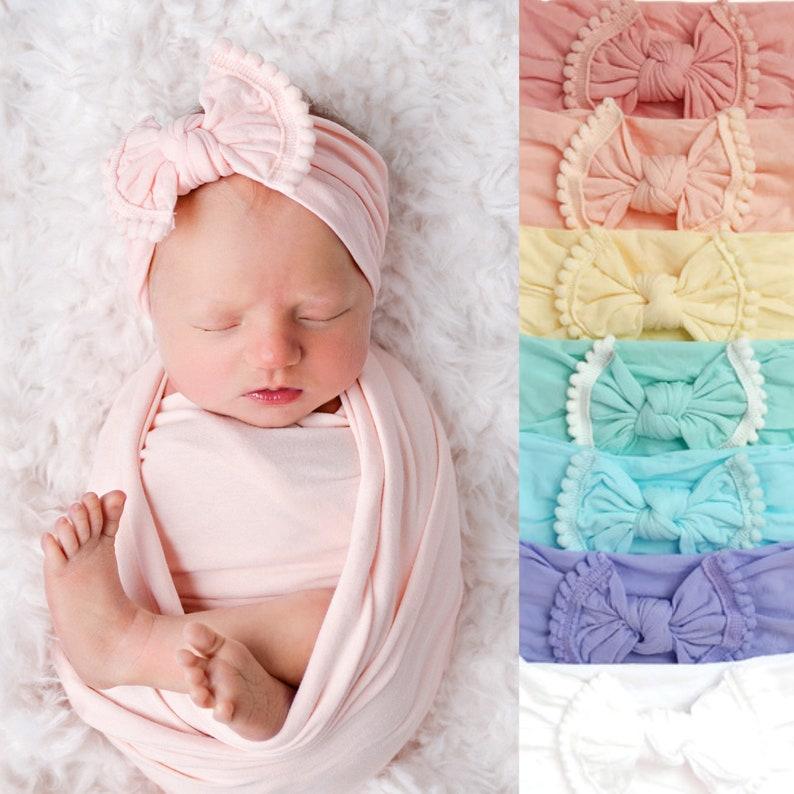 21 COLORS Baby Girl Headband White Nylon Turban Infant Bow image 0